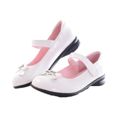 蝴蝶結 魔鬼氈綁帶 學生娃娃鞋-白 sk0028