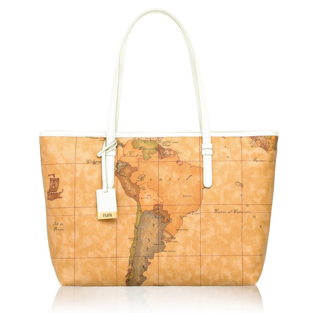 Alviero Martini 義大利地圖包 手提拉鍊肩背托特包(大)-地圖黃/白