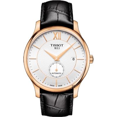 TISSOT天梭 Tradition 小秒針機械錶-銀x玫塊金框x黑/40mm T0634283603800