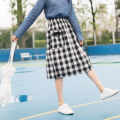 親子系列~撞色格紋雙口袋造型棉質中長包裙-OB嚴選