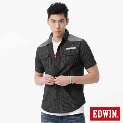 EDWIN 襯衫 剪接細格短袖襯衫-男-黑色