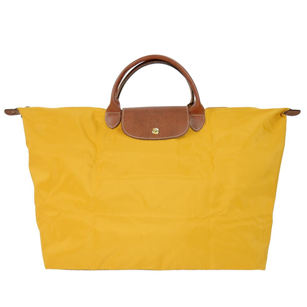 LONGCHAMP LE PLIAGE短把手提旅行袋(大/陽光黃)