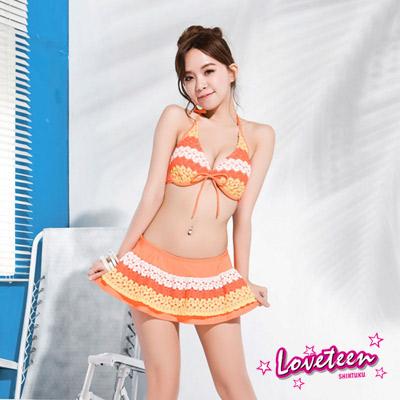 夏之戀Loveteen 比基尼泳裝 比基尼三件式泳裝 白橘色條紋