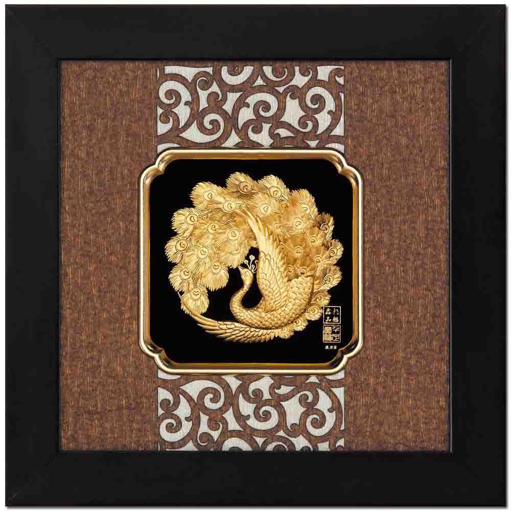 鹿港窯-立體金箔畫-富貴吉祥(框畫系列24.5x24.5cm)