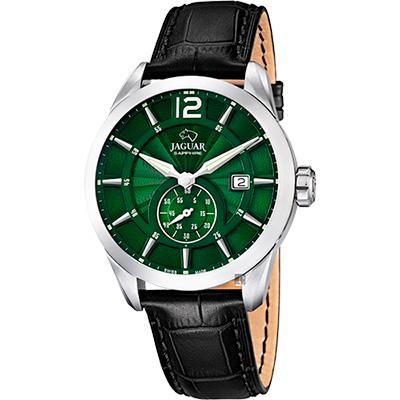 JAGUAR ACAMAR 經典小秒針手錶-綠x黑/43mm