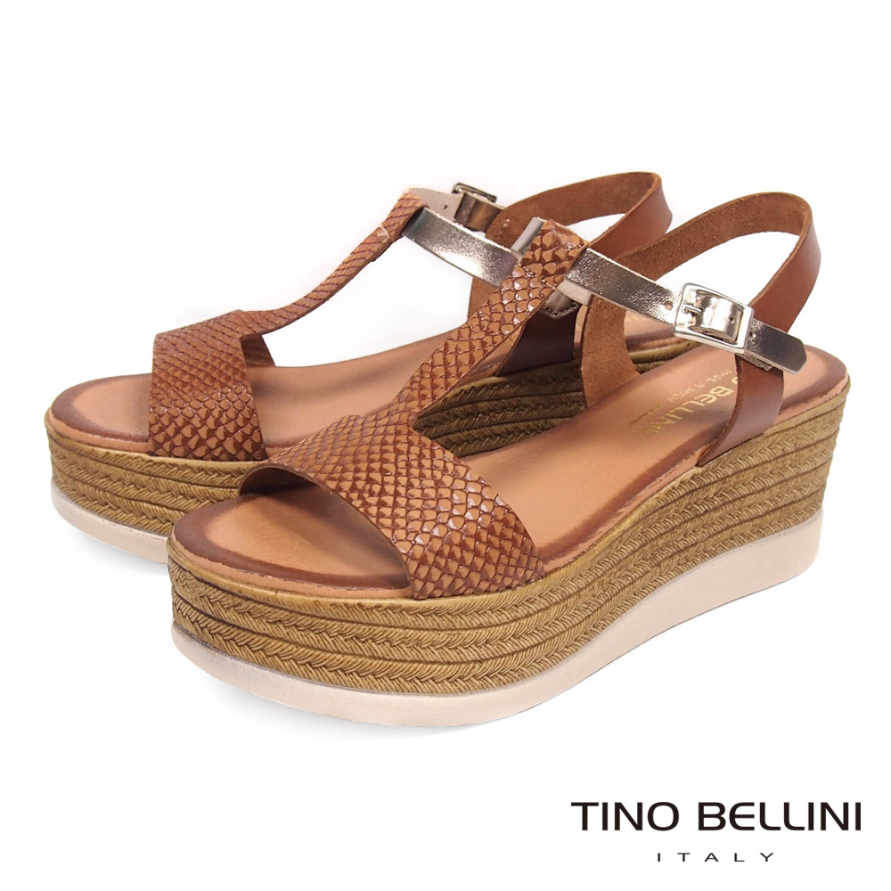 Tino Bellini西班牙進口蛇紋工字厚底涼鞋_ 咖