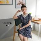 東京著衣 V領拼接鏤空蕾絲印花洋裝-S.M(共二色)