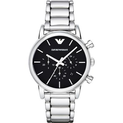 Emporio Armani Classic 復刻品味經典計時腕錶-黑/41mm