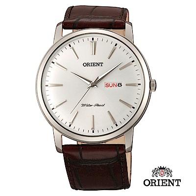 ORIENT 東方錶 CLASSIC DESIGN系列 日期星期顯示石英錶 皮帶款 白色