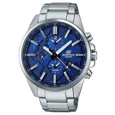 EDIFICE 世界地圖浮刻設計大錶面時尚腕錶(ETD-300D-2A)藍面/46.3mm