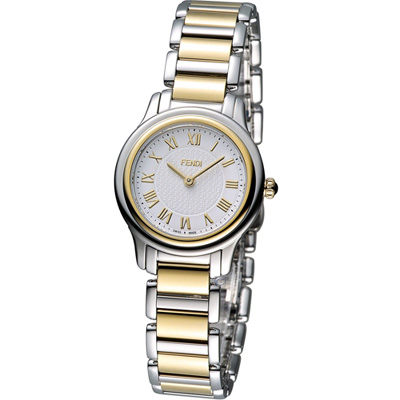 FENDI Classico 古典優雅時尚腕錶-銀x雙色版/26mm