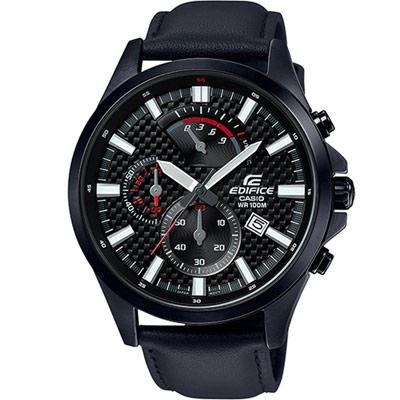 EDIFICE 碳纖維紋計時三眼錶(EFV-530BL-1A)黑/47.2mm