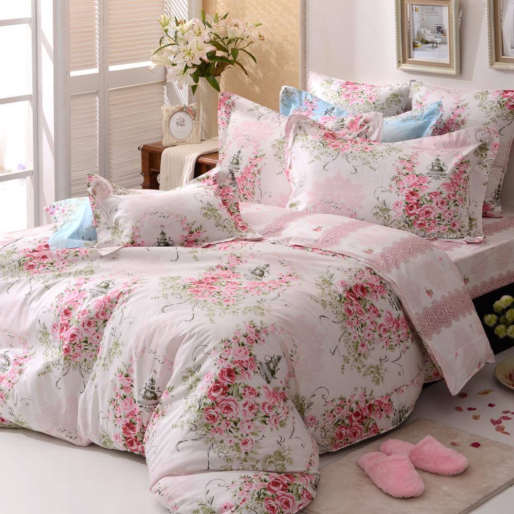義大利La Belle 薔薇戀曲-粉 雙人純棉床包枕套組