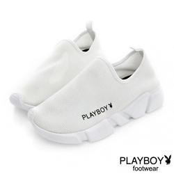 PLAYBOY 簡約率性 舒適超輕量休閒便鞋-白(女)