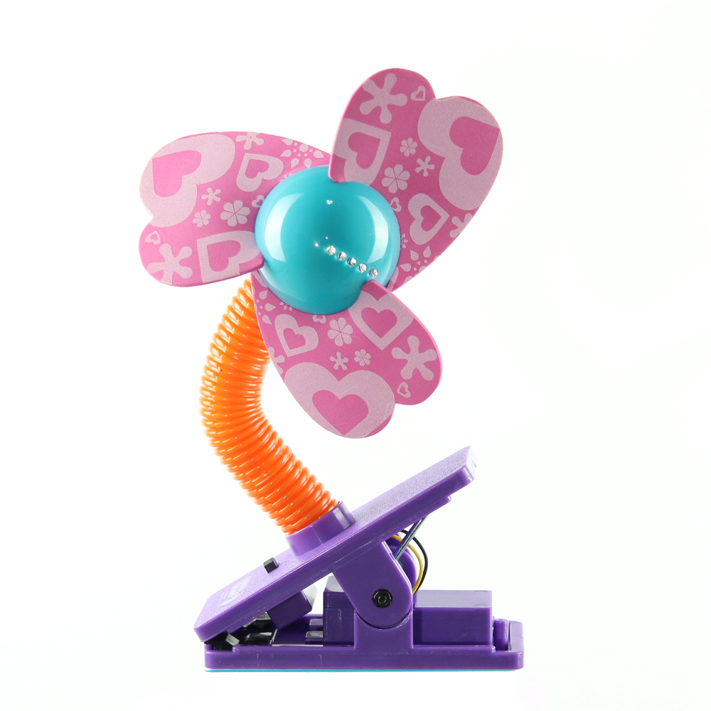 Lucky Baby 可夾式LED安全電風扇-愛心粉