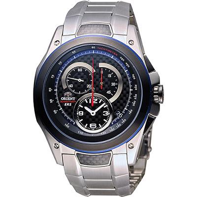 ORIENT 東方錶 SPEEDTECH系列人動電能計時男錶-黑x銀/46mm