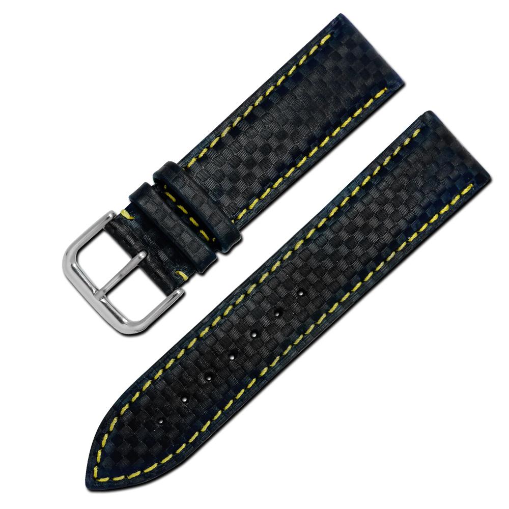 Watchband / 時尚指標仿碳纖維雙材質錶帶-黑黃色