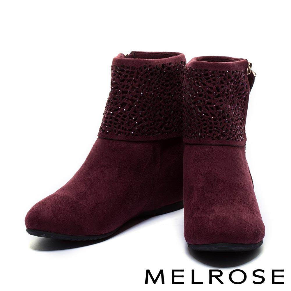 短靴 MELROSE 時尚晶鑽麂皮內增高短靴-紅
