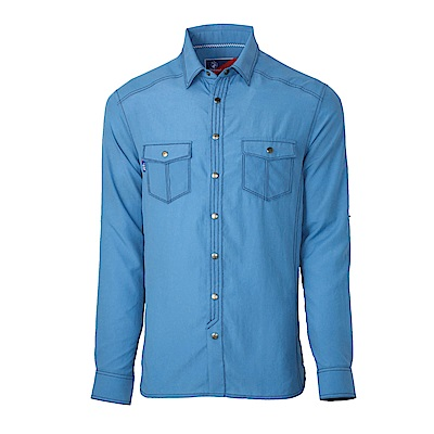 【Wildland 荒野】男RE雙色抗UV長袖襯衫淺灰藍