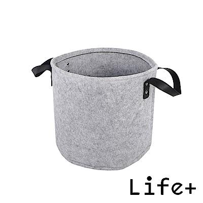 Life Plus 自然風素面圓款毛氈收納籃/置物籃 (灰色-M)
