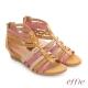 effie 嬉皮假期 小坡跟彩色羅馬楔型涼鞋 卡其色 product thumbnail 1