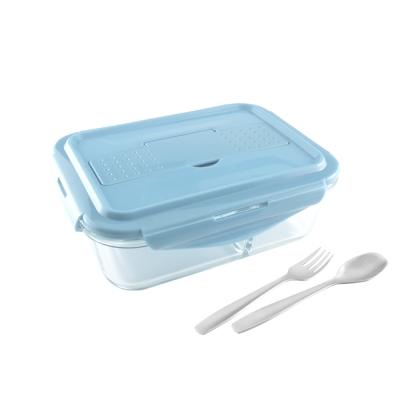 美國Winox 安玻立體2分隔玻璃保鮮盒1000ML附餐具