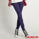 BOBSON 女款高腰高彈力緹織布緊身褲(藍紫50)