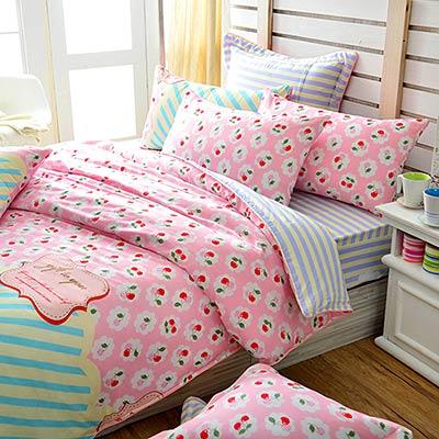 Grace Life 珍藏甜美 精梳純棉加大涼被床包四件組