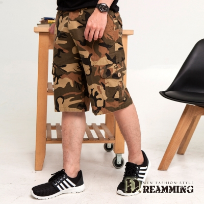 Dreamming 哈韓系迷彩造型多口袋休閒短褲-卡其