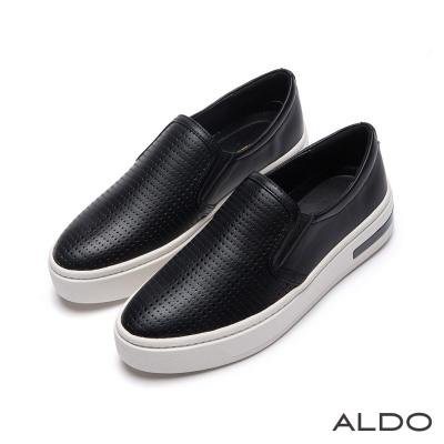 ALDO-時髦休閒原色幾何鬆緊帶夾心厚底鞋-尊爵黑色