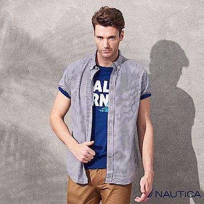Nautica經典細格紋短袖襯衫-藍色