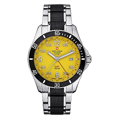 阿爾卑斯 S.A.M-獨家限定-翱翔傳奇系列-GMT/黃色錶盤/銀黑雙色鍊帶/42mm