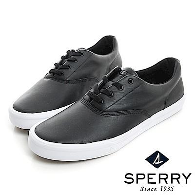 SPERRY  Striper全新進化吸震減壓皮革休閒鞋(男)-黑