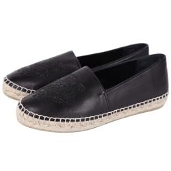 KENZO Leather Tiger 虎頭皮革草編平底鞋(黑色/薄版)