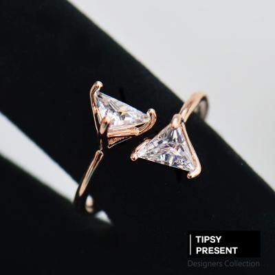 微醺禮物-韓製-鋯石-鍍16K金-立體三角形交錯