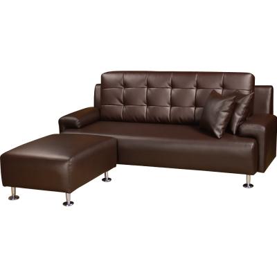 品家居 諾曼頓舒適 L型皮革沙發椅組(三人+凳)兩色可選