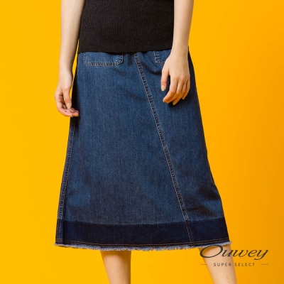 OUWEY歐薇 簡約斜裁長版牛仔裙(藍)