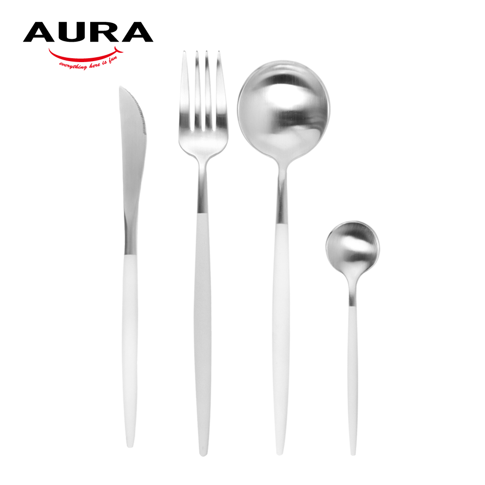 AURA艾樂 Fantasy鈦奢華不鏽鋼餐具四件組(原+白柄)