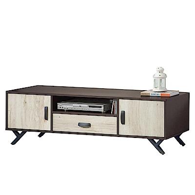品家居 薇亞可5尺木紋雙色長櫃/電視櫃-150x40x46cm免組