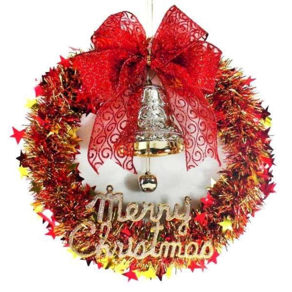 紅金系金蔥聖誕星星花圈(14吋)
