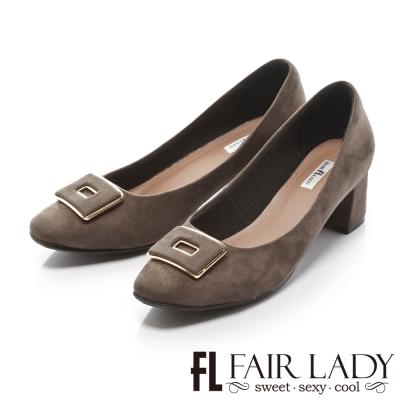 Fair Lady 優雅小姐Miss Elegant 優雅經典法式風情粗跟鞋 灰
