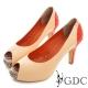GDC-羊皮撞色拼接真皮魚口高跟鞋-粉色 product thumbnail 1