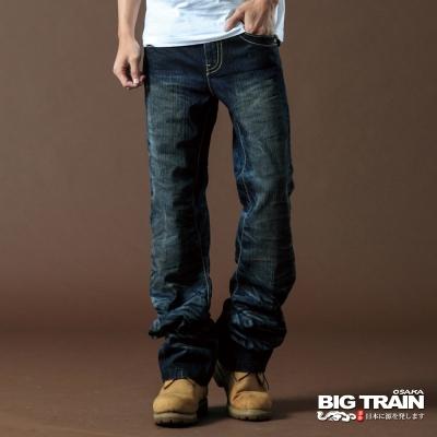 BIG TRAIN-3D後袋雲紋繡中直垮褲(深藍)