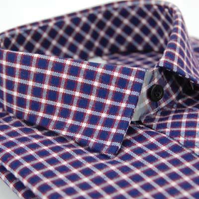 金‧安德森 紫白格紋厚暖長袖襯衫