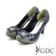GDC-經典迷人方型飾釦亮面菱格紋高跟鞋-藍色 product thumbnail 1
