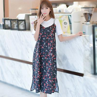 素面短袖上衣+復古小碎花吊帶裙兩件套 (花色)-Kugi Girl