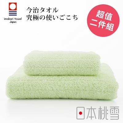 日本桃雪今治浴巾-今治毛巾超值一大一小組合-萊姆綠