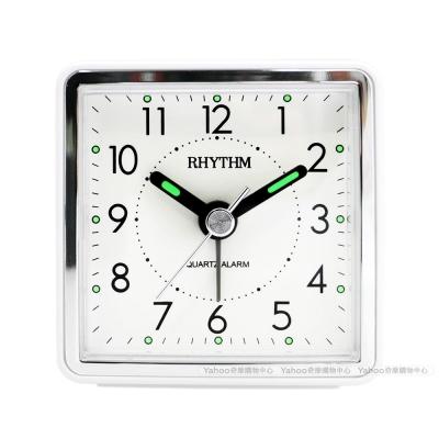 RHYTHM 麗聲 時尚夜光輕巧隨身小鬧鐘-簡約白/ 6 cm