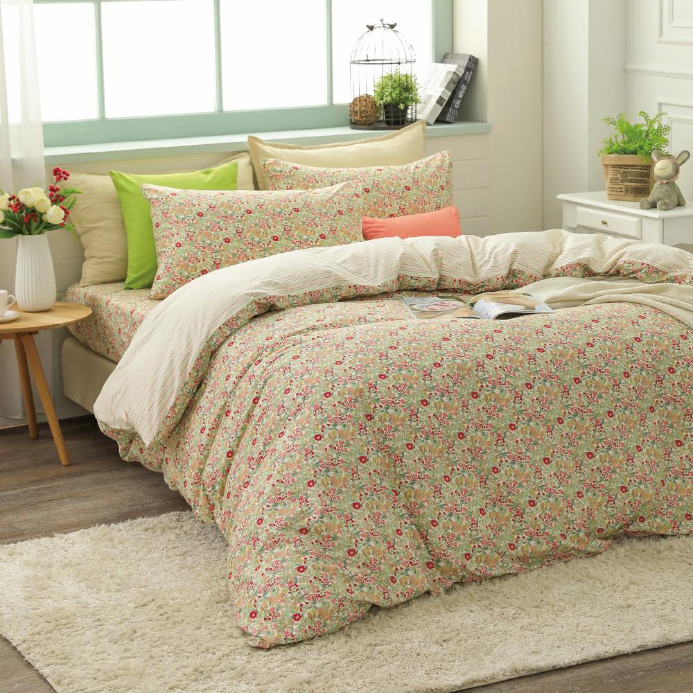 鴻宇HongYew 100%精梳棉 田園小碎花 單人床包枕套兩件組