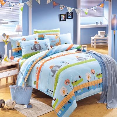 鴻宇HongYew 100%美國棉 防蹣抗菌-動物農場 藍 雙人枕套床包三件組